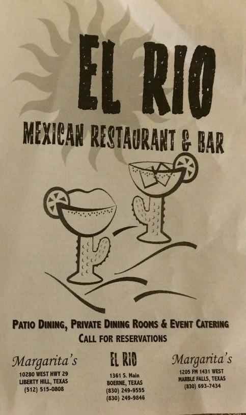 El Rio Mexican Restaurant Boerne  Menu 1
