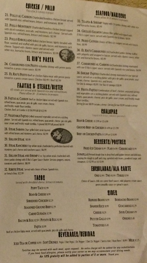 La Rumba Restaurant Menu